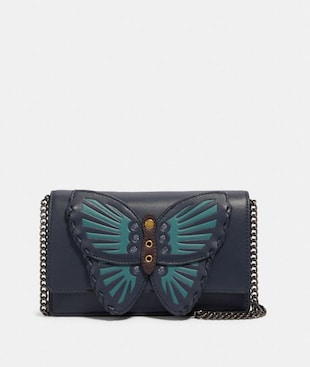FLAP BELT BAG WITH BUTTERFLY APPLIQUE