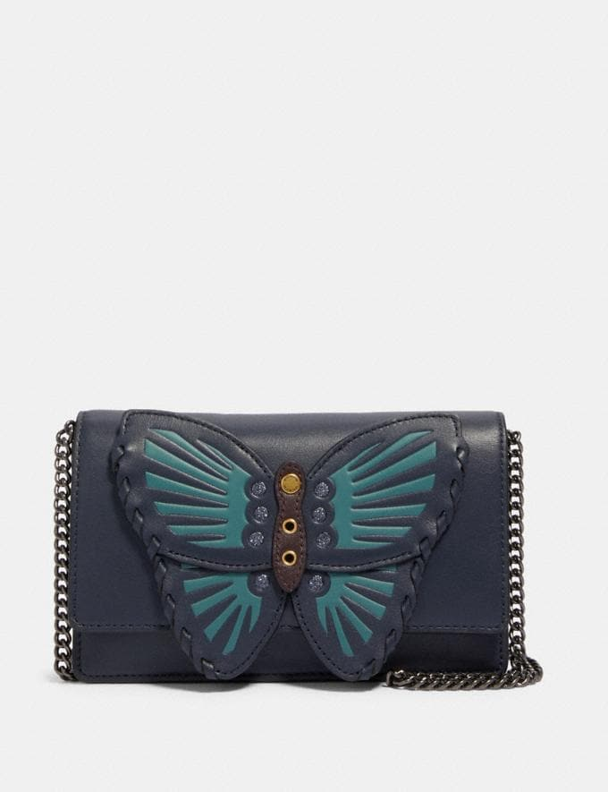 Coach Flap Belt Bag With Butterfly Applique Qb/Midnight