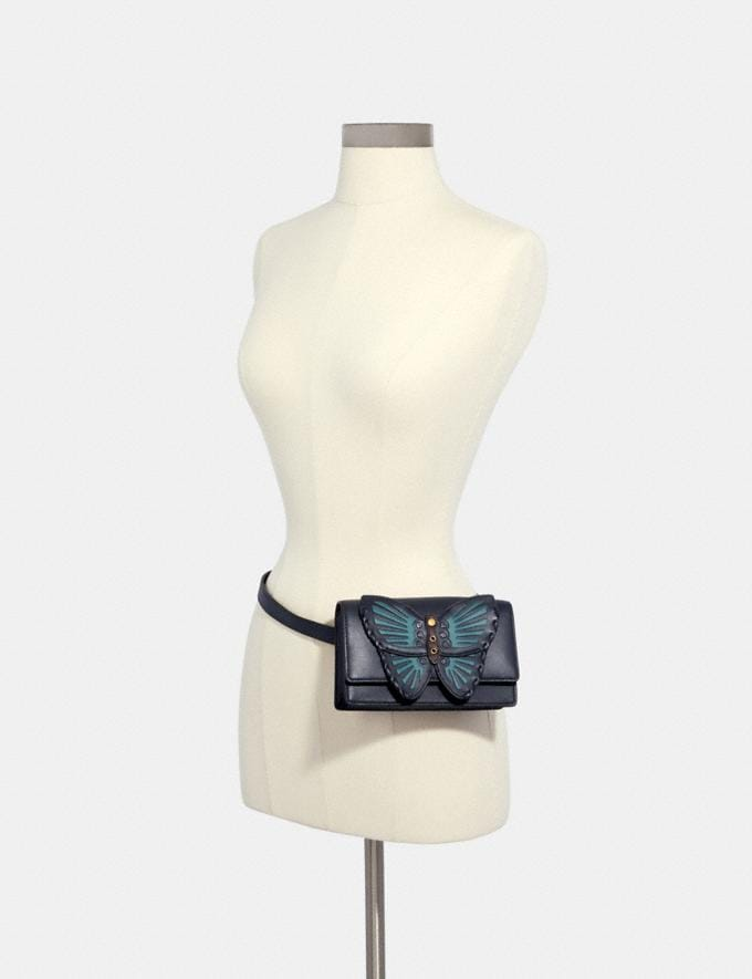 Coach Flap Belt Bag With Butterfly Applique Qb/Midnight  Alternate View 2
