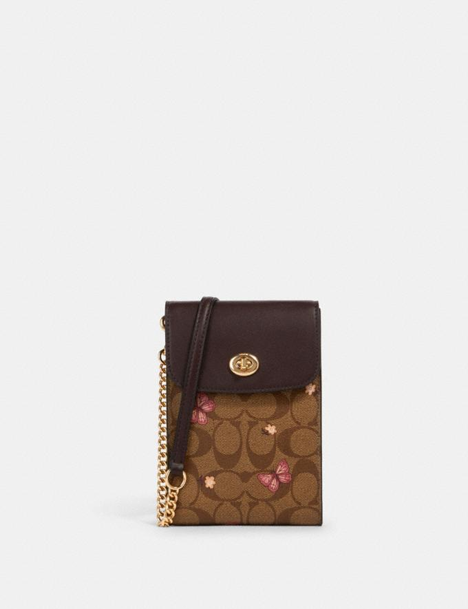 Coach Rachel Phone Crossbody in Signature Canvas With Butterfly Print Im/Khaki Pink Multi