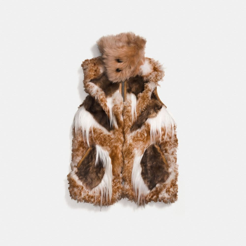 patchwork shearling vest