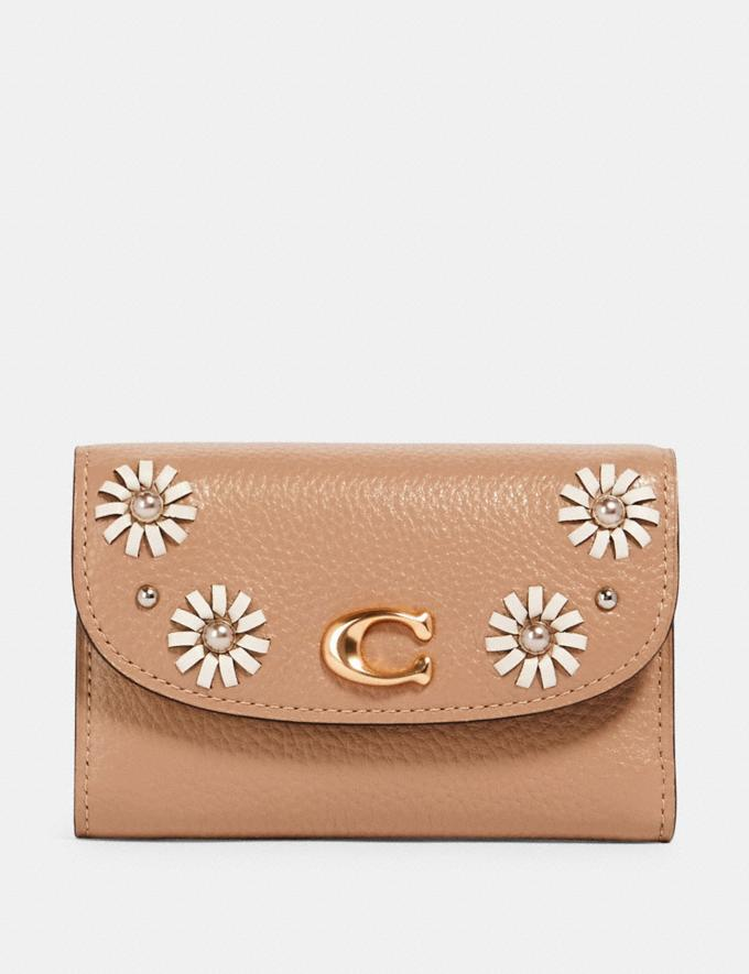 Coach Remi Medium Envelope Wallet With Whipstitch Daisy Applique Im/Taupe Accessories Wallets