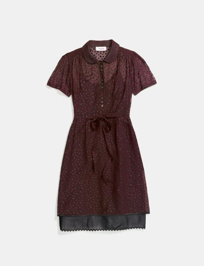 Coach Star Print Shirt Dress Burgundy