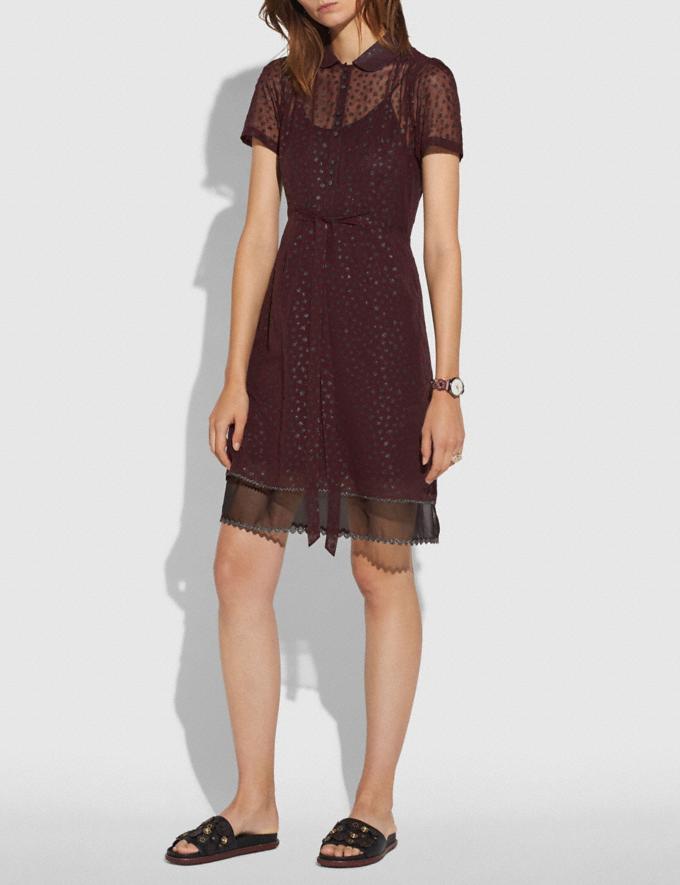 Coach Star Print Shirt Dress Burgundy SALE Women's Sale Ready-to-Wear Alternate View 1