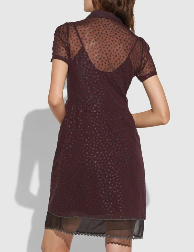 Coach Star Print Shirt Dress Burgundy  Alternate View 2