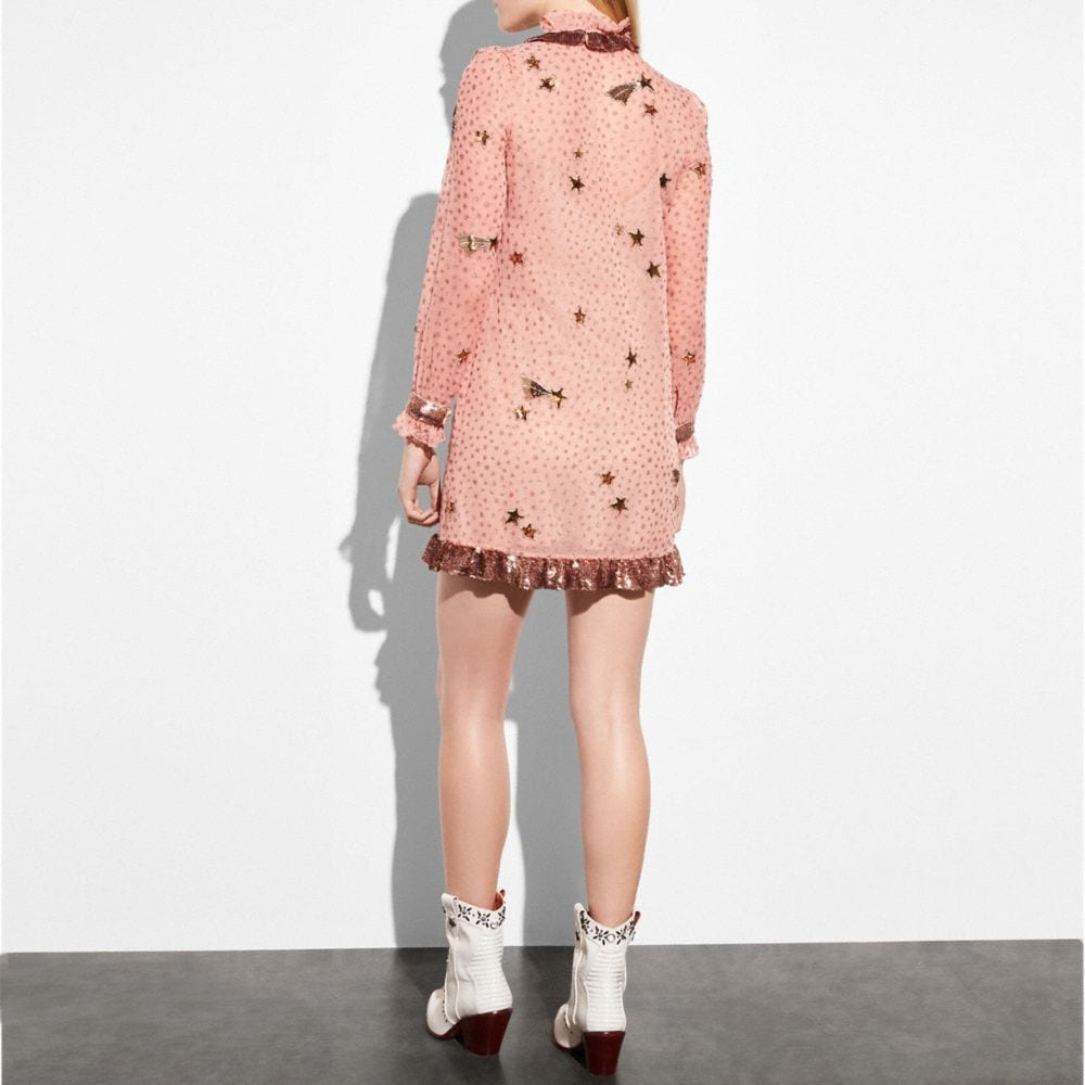 Coach Embellished Outerspace Print Dress Alternate View 2