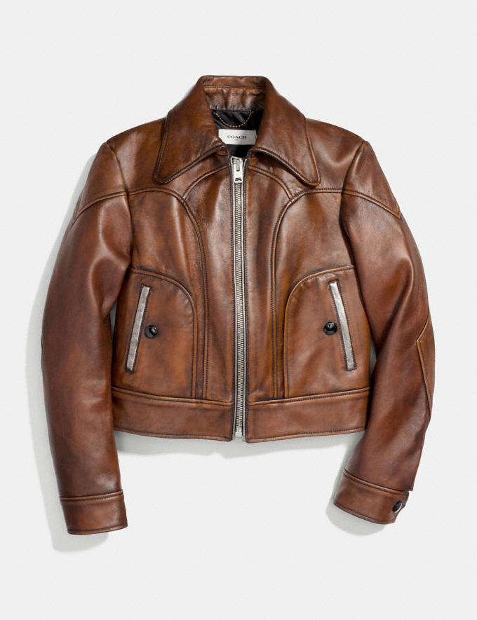 Coach Landscape Leather Jacket Dark Teak