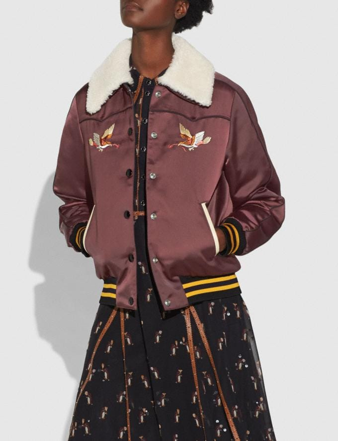 Coach Reversible Montana Varsity Puffer Wine/Oxblood Women Ready-to-Wear Coats & Jackets