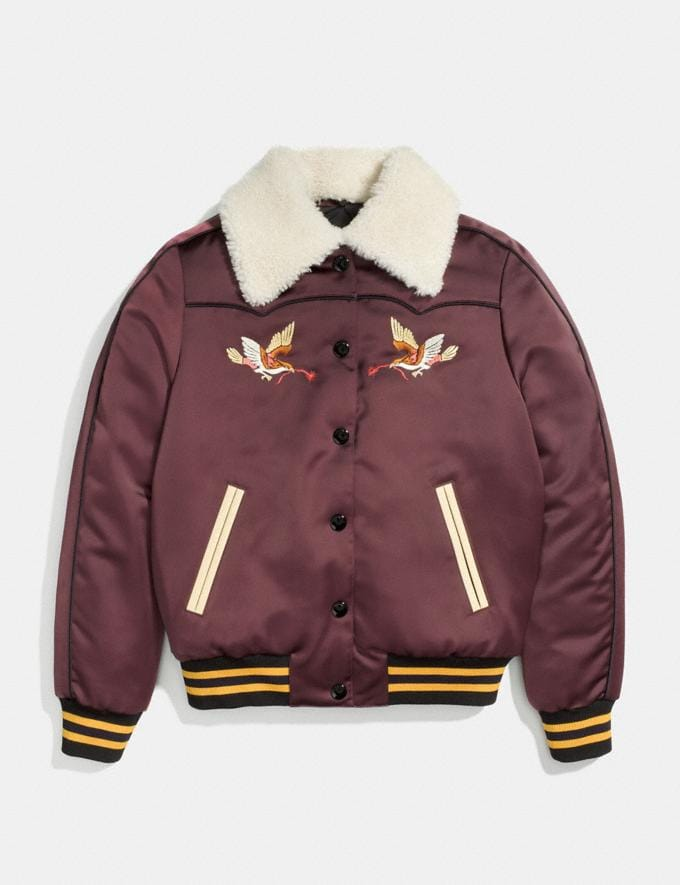 Coach Reversible Montana Varsity Puffer Wine/Oxblood Women Ready-to-Wear Coats & Jackets Alternate View 1