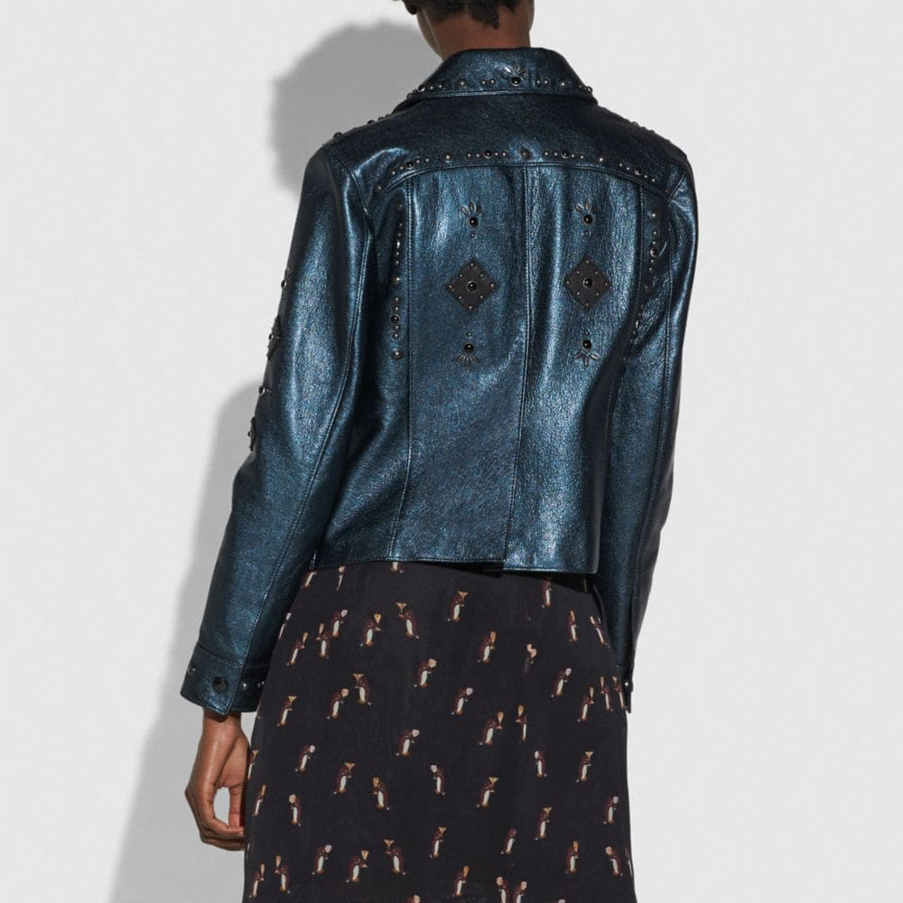 Coach Prairie Rivets Metallic Leather Jacket Alternate View 2