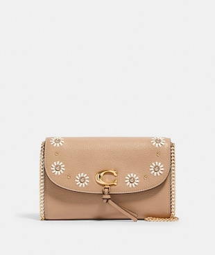REMI CHAIN CROSSBODY WITH WHIPSTITCH DAISY APPLIQUE