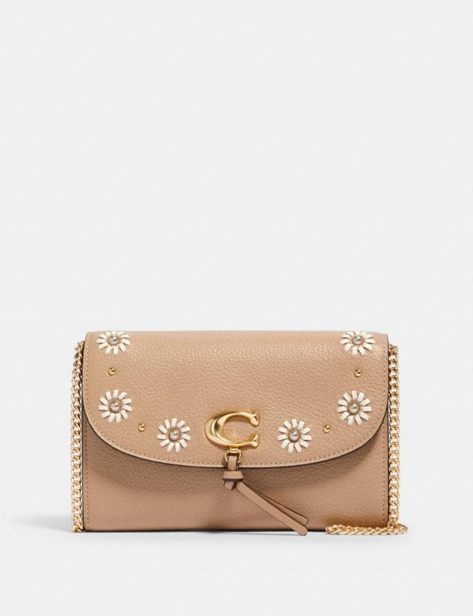 Coach Remi Chain Crossbody With Whipstitch Daisy Applique Im/Taupe