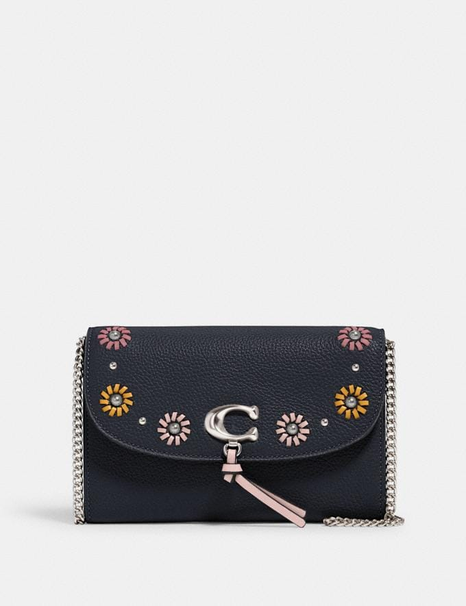 Coach Remi Chain Crossbody With Whipstitch Daisy Applique Sv/Midnight