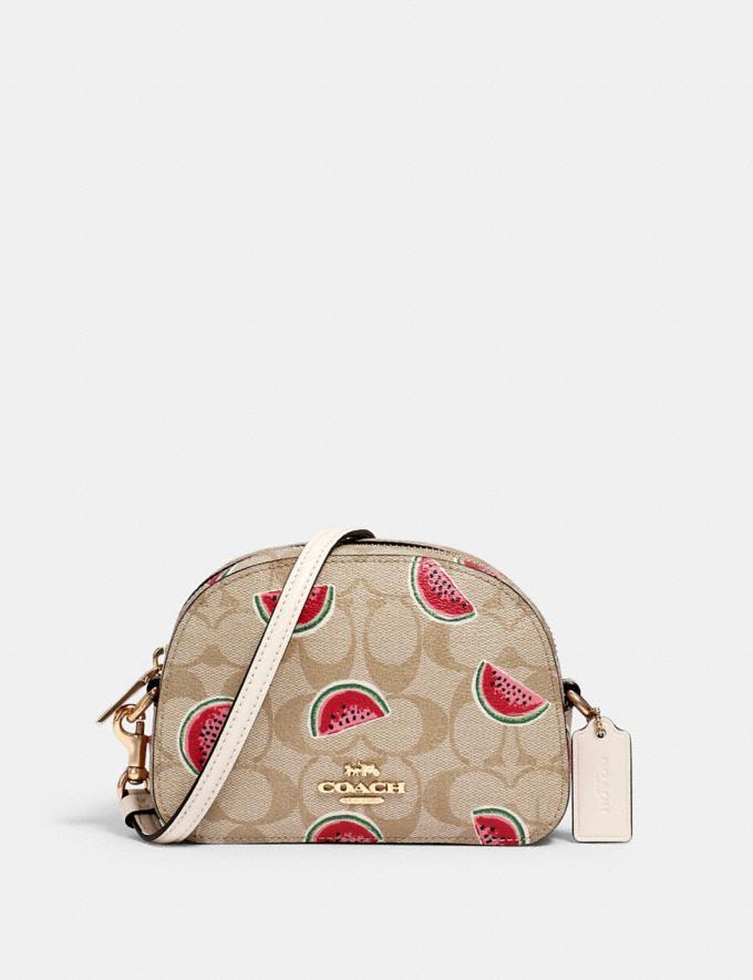 Coach Mini Serena Crossbody in Signature Canvas With Watermelon Print Im/Lt Khaki/Red Multi Bags Bags