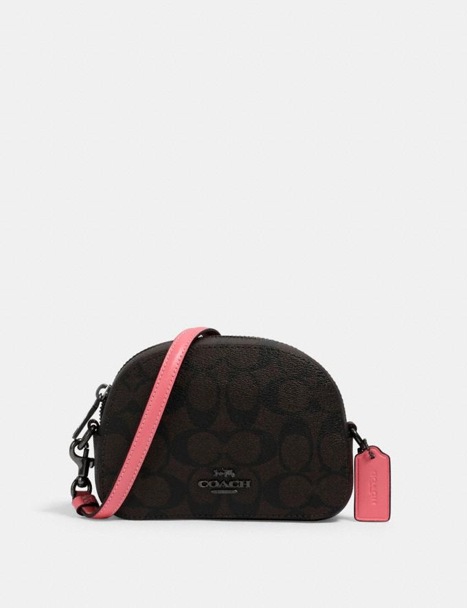 Coach Mini Serena Crossbody in Signature Canvas Qb/Brown Pink Lemonade