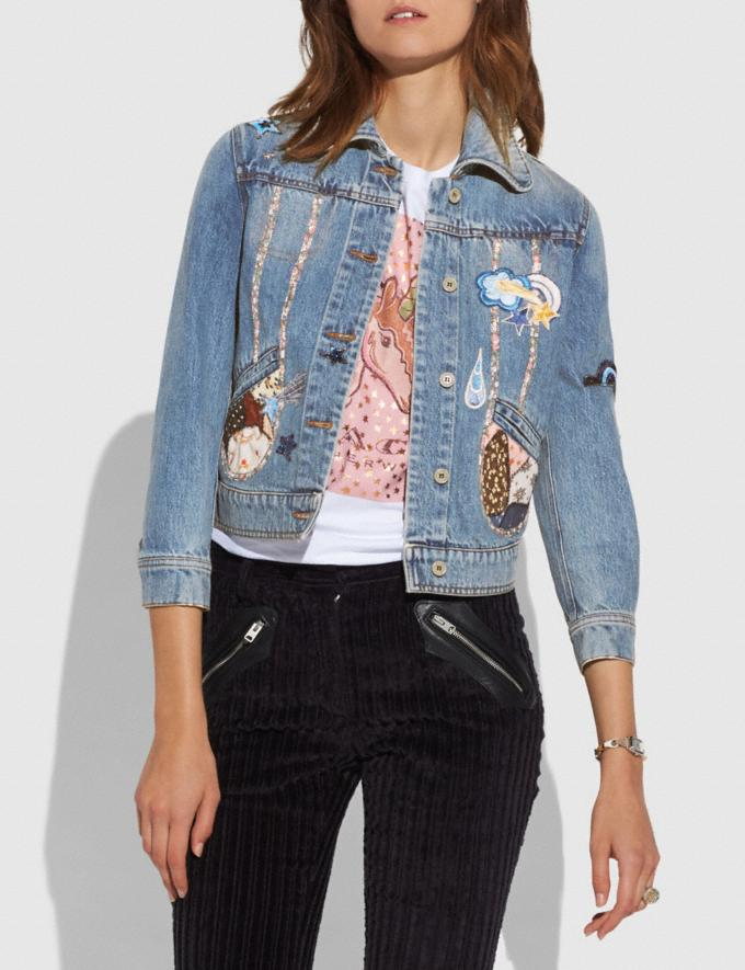 Coach Patchwork Denim Jacket Blue CYBER MONDAY SALE Women's Sale Ready-to-Wear
