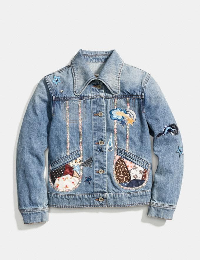 Coach Patchwork Denim Jacket Blue CYBER MONDAY SALE Women's Sale Ready-to-Wear Alternate View 1
