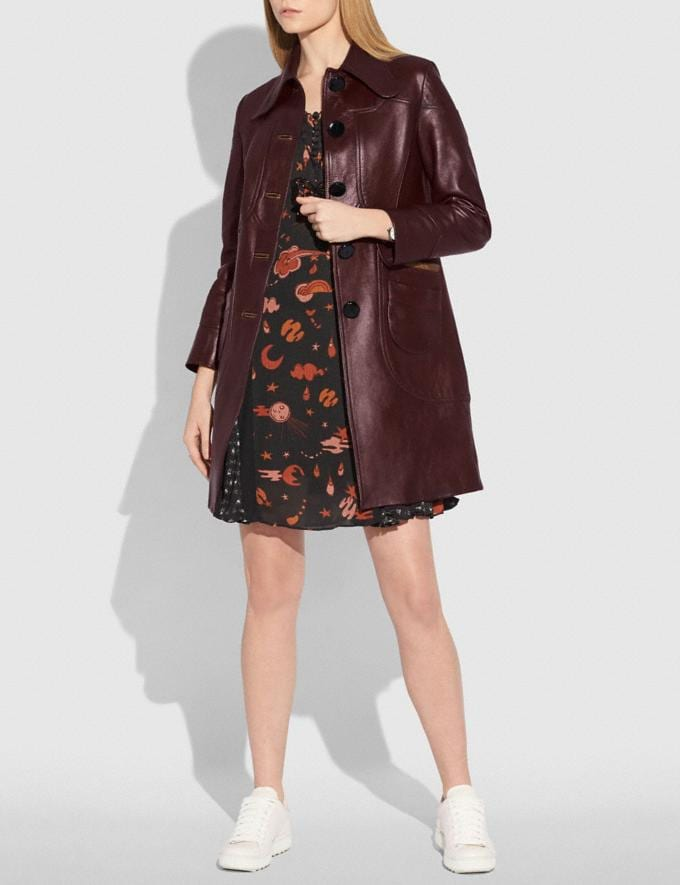 Coach Landscape Leather Coat Tobacco Women Ready-to-Wear Coats & Jackets Alternate View 1