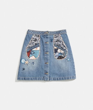 GONNA IN DENIM CON MOTIVO PATCHWORK