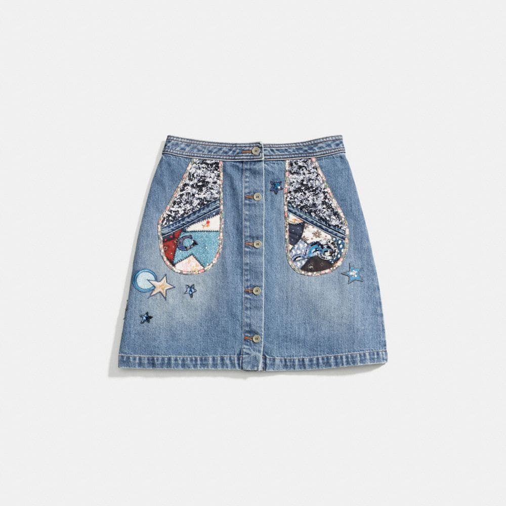 PATCHWORK DENIM SKIRT