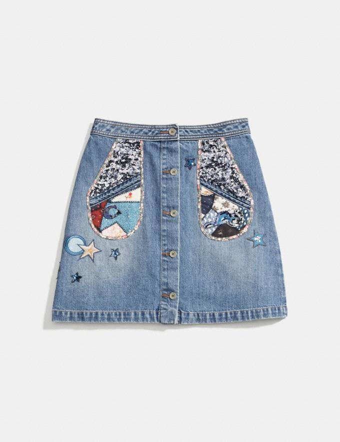 Coach Patchwork Denim Skirt Blue CYBER MONDAY SALE Women's Sale Ready-to-Wear