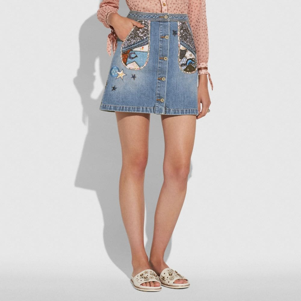 Coach Patchwork Denim Skirt Alternate View 1