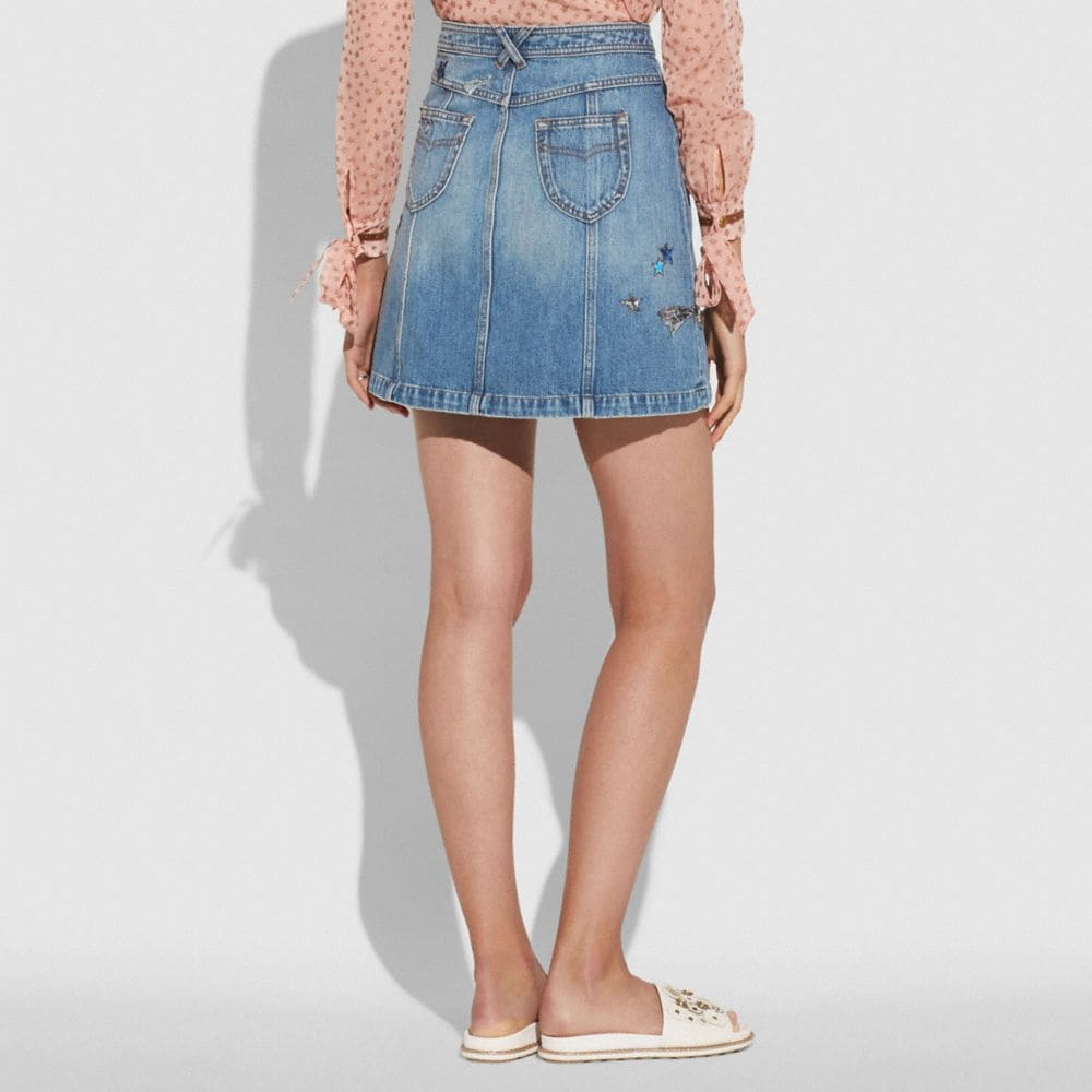 Coach Patchwork Denim Skirt Alternate View 2