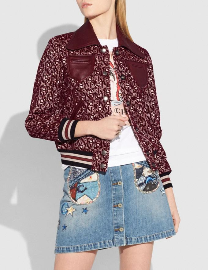Coach Signature Chain Jacquard Jacket Burgundy Women Ready-to-Wear Coats & Jackets Alternate View 1