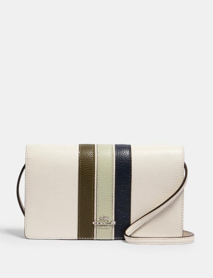 ANNA FOLDOVER CROSSBODY CLUTCH WITH VARSITY STRIPE
