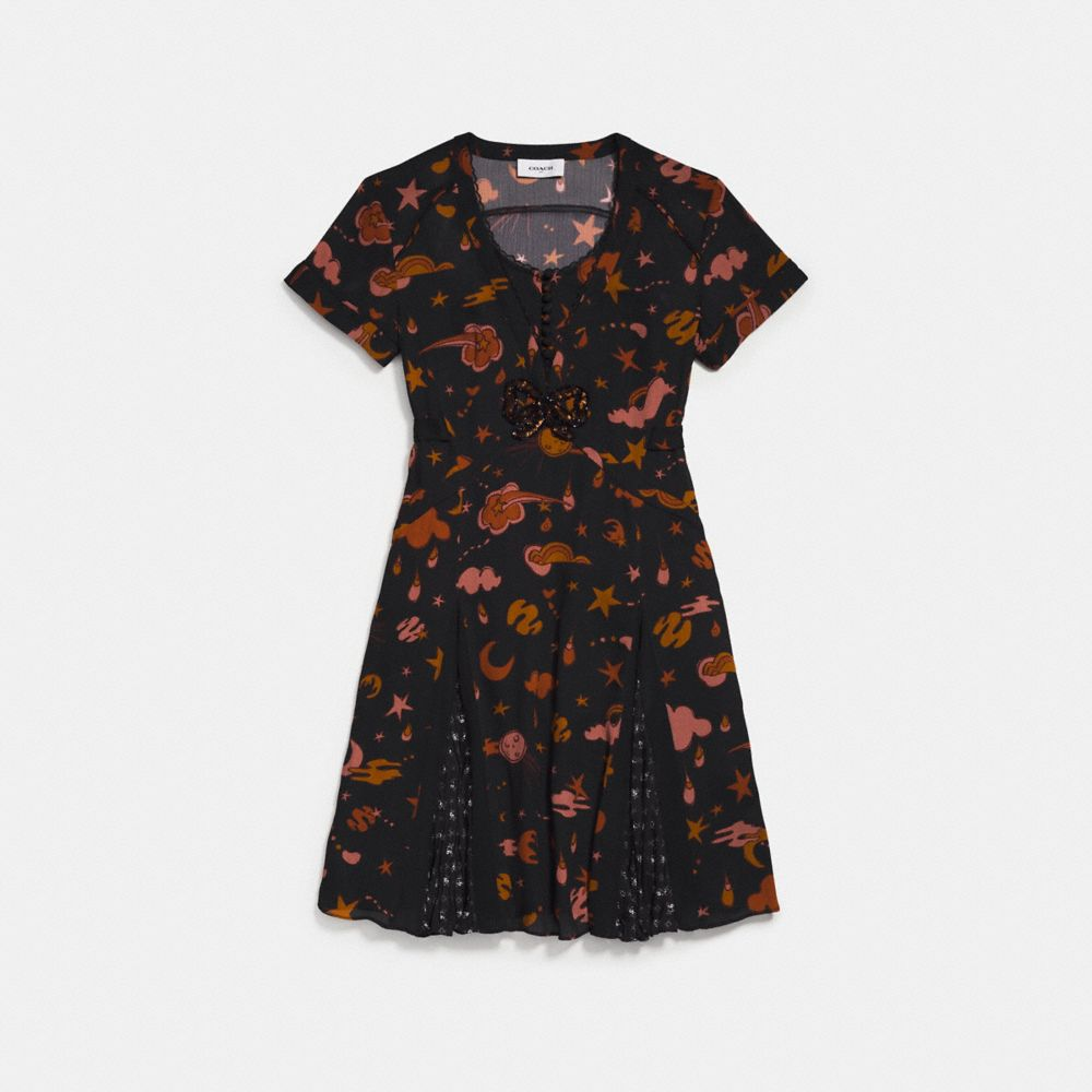 Coach Outerspace Print Pleated Dress