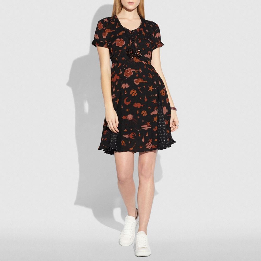 Coach Outerspace Print Pleated Dress Alternate View 1