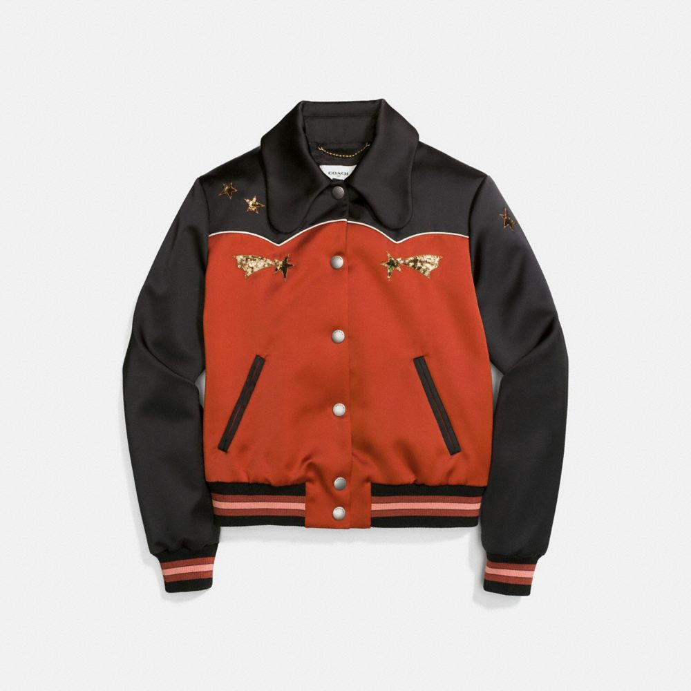 Coach Shrunken Varsity Jacket Alternate View 1