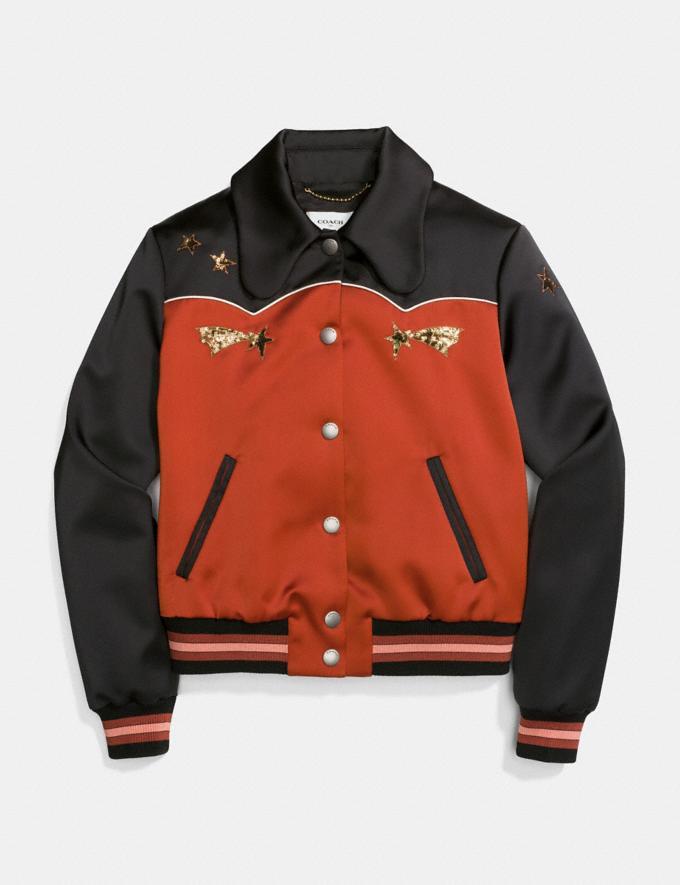 Coach Shrunken Varsity Jacket Port/Black CYBER MONDAY SALE Women's Sale Ready-to-Wear Alternate View 1