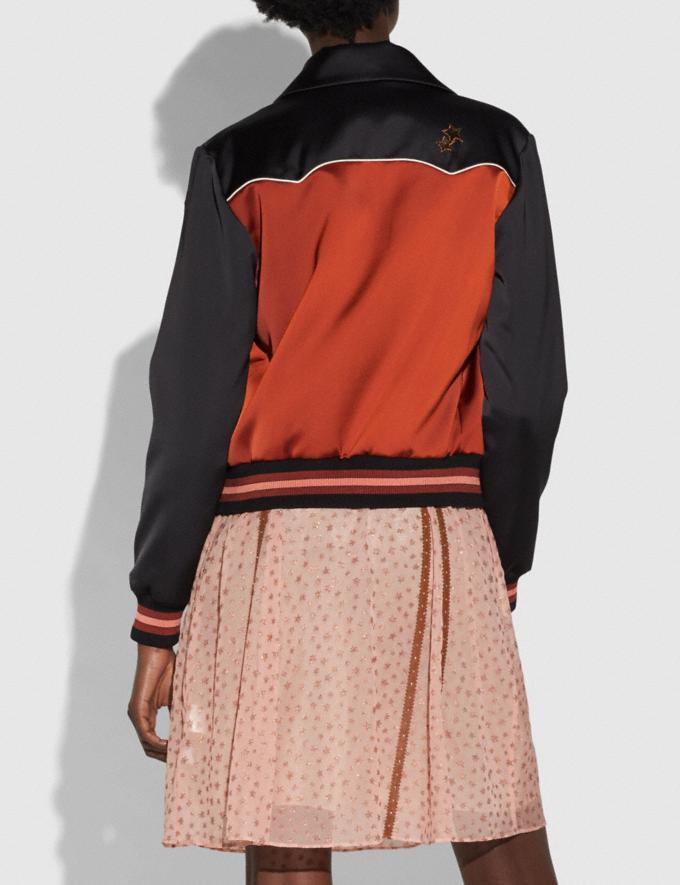 Coach Shrunken Varsity Jacket Port/Black CYBER MONDAY SALE Women's Sale 50 Percent Off Alternate View 2