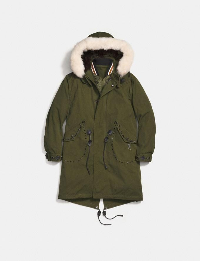 Coach Parka Khaki Green Women Ready-to-Wear Coats & Jackets Alternate View 1