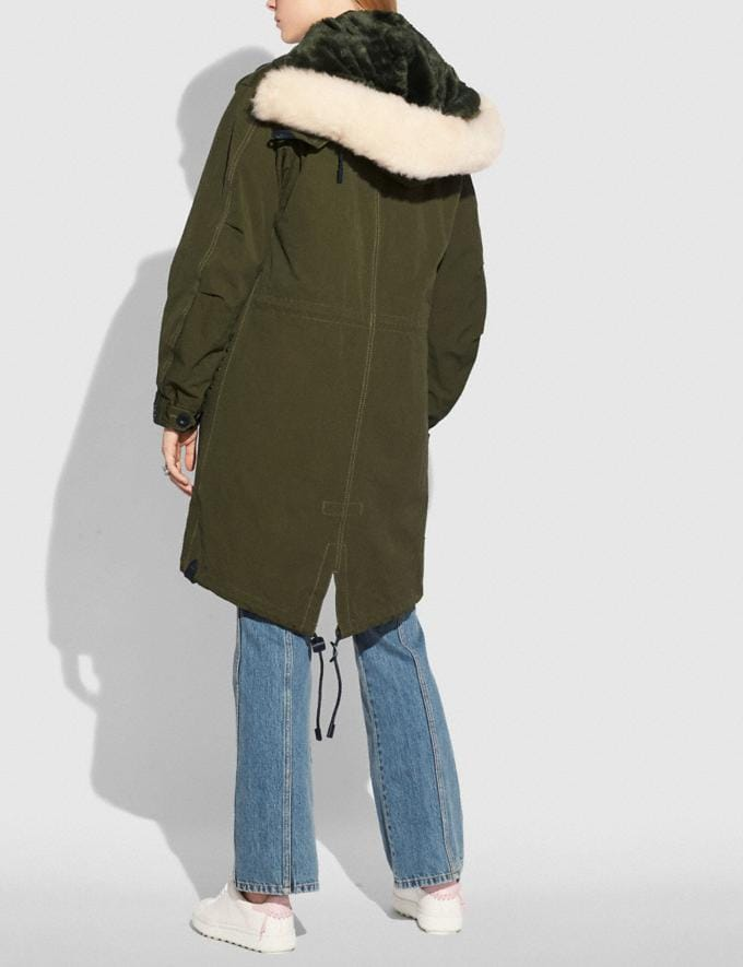 Coach Parka Khaki Green Women Ready-to-Wear Coats & Jackets Alternate View 2