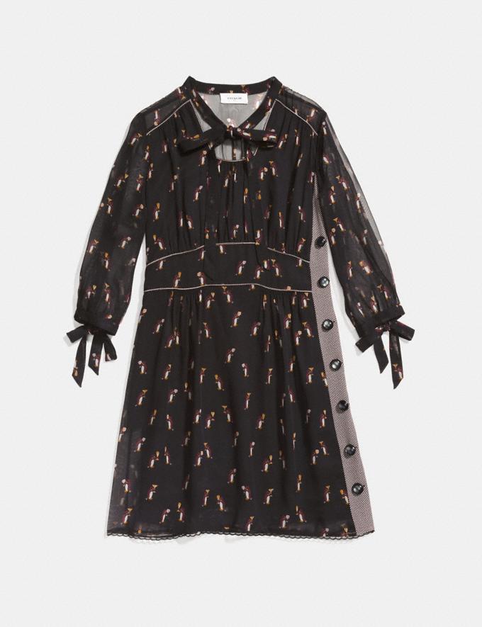 Coach Penguin Print Tie Neck Dress Black Women Ready-to-Wear Dresses Alternate View 1