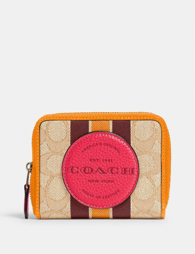 Coach Dempsey Small Zip Around Wallet in Signature Jacquard With Stripe and Coach Patch Im/Lt Khaki Electric Pink Clearance New To Clearance