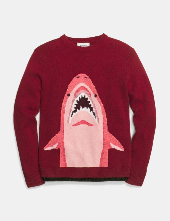 Coach Sharky Intarsia Sweater Burgundy