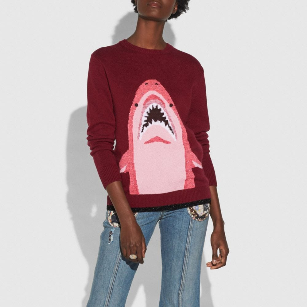 Coach Sharky Intarsia Sweater Alternate View 1