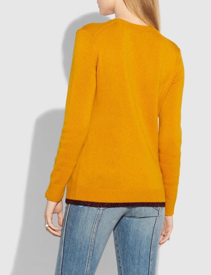 Coach Rexy Intarsia Sweater Yellow Women Ready-to-Wear Tops Alternate View 2
