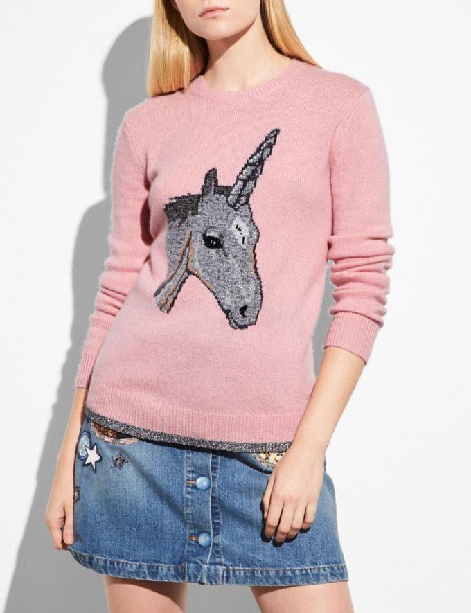 Coach Uni Intarsia Sweater Pink
