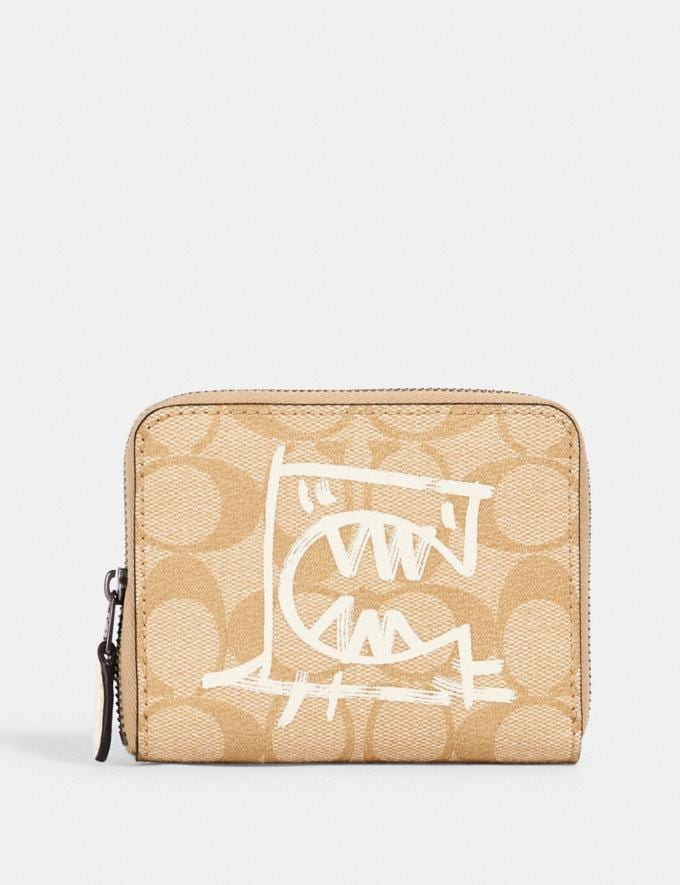 Coach Small Zip Around Wallet in Signature Canvas With Rexy by Guang Yu Qb/Light Khaki/Chalk Multi Accessories Wallets
