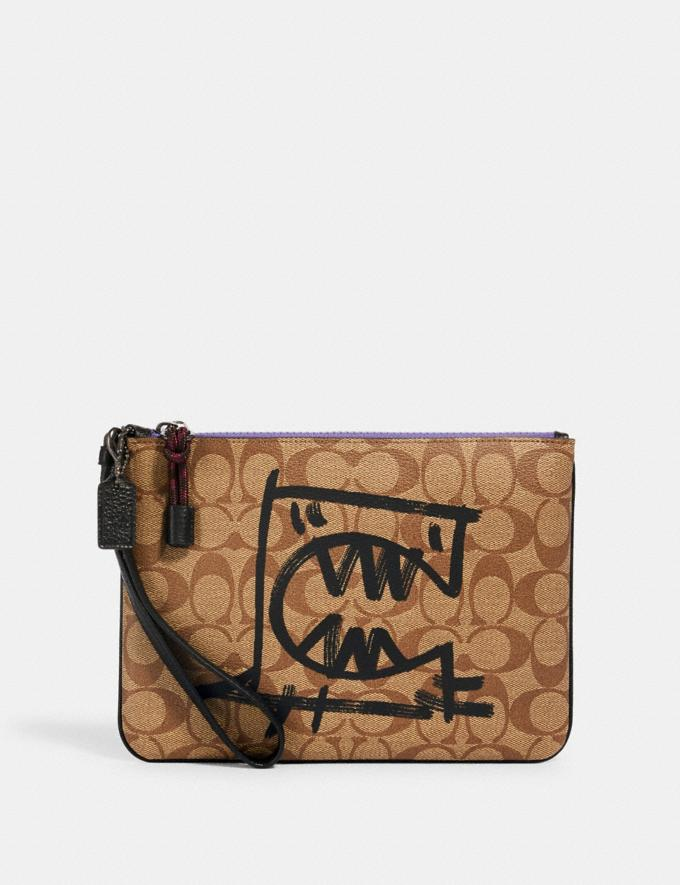 Coach Gallery Pouch in Signature Canvas With Rexy by Guang Yu Qb/Khaki Black Multi