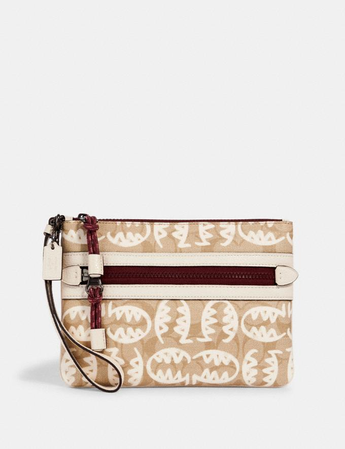 Coach Vale Gallery Pouch in Signature Canvas With Rexy by Guang Yu Qb/Light Khaki/Chalk Multi