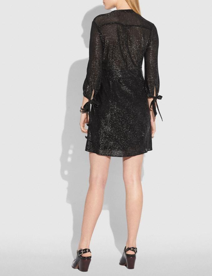 Coach Lurex Tie Neck Dress Black SALE Women's Sale Ready-to-Wear Alternate View 2