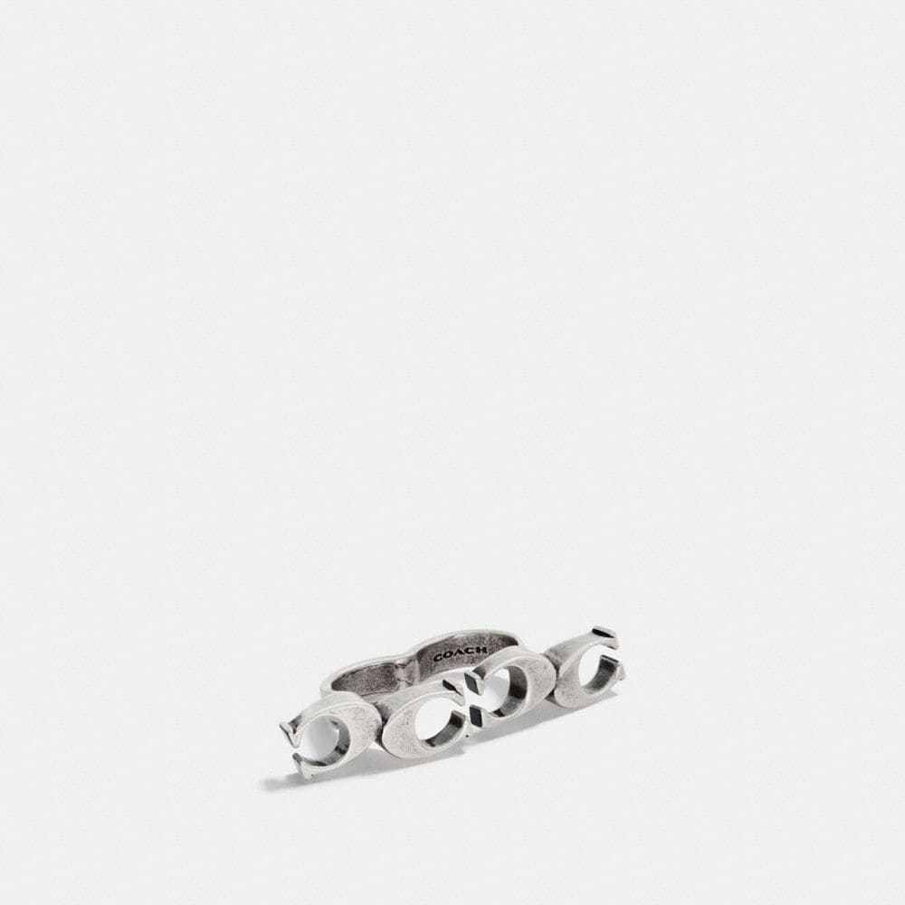 Coach Signature Chain Link Knuckle Ring
