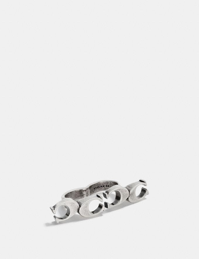 Coach Signature Chain Link Knuckle Ring Silver