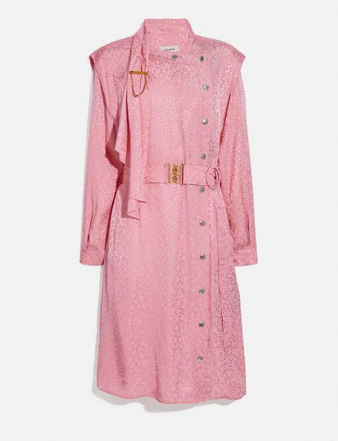 Coach Abstract Jacquard Drape Belted Dress Pink