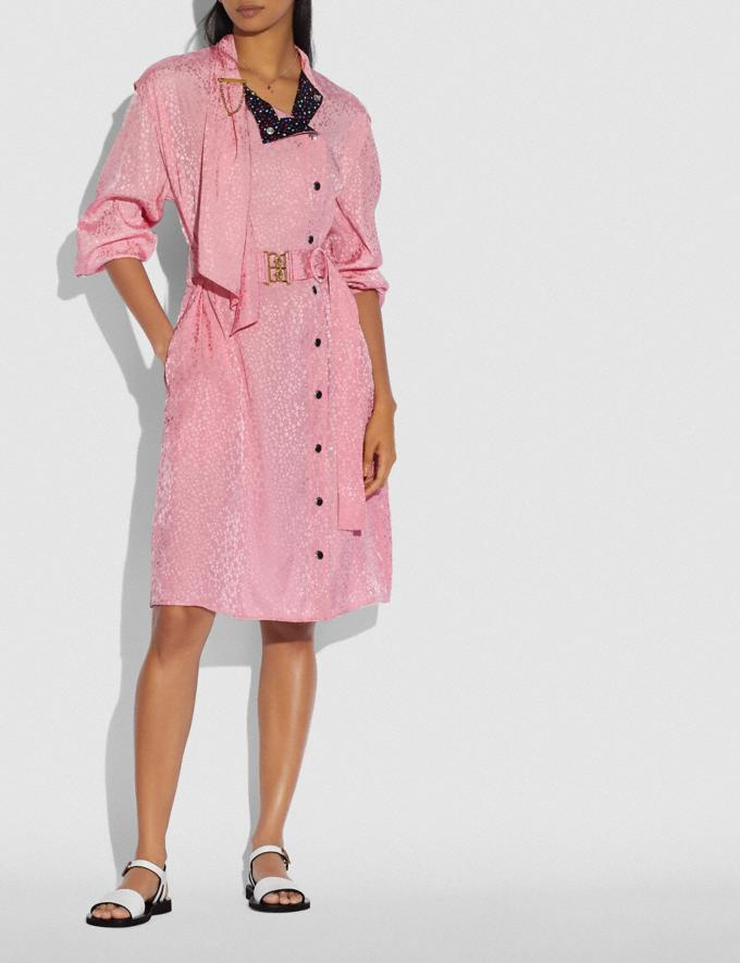 Coach Abstract Jacquard Drape Belted Dress Pink  Alternate View 1